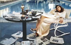 Dunaway by the pool at the Beverley Hills Hotel, the morning after winning her Oscar for Network