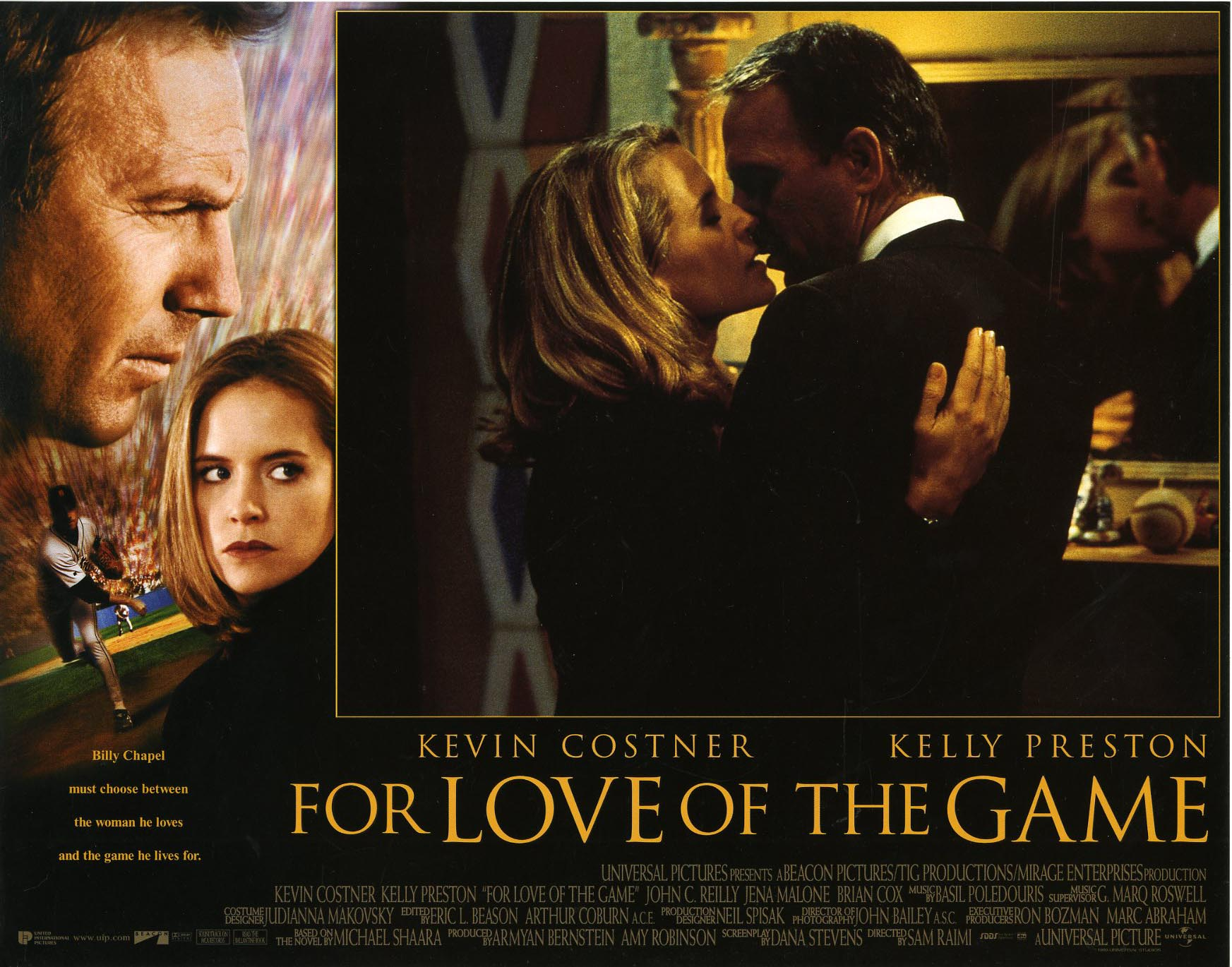 a review of the 1999 movie for the love of the game The movie has a screenplay that lumbers between past and present like regret on a death march billy suits up for his final game of the season, and as he starts pitching we get the five years earlier card, and the movie cuts back and forth between his quest to pitch a perfect game and his memories of their love affair.